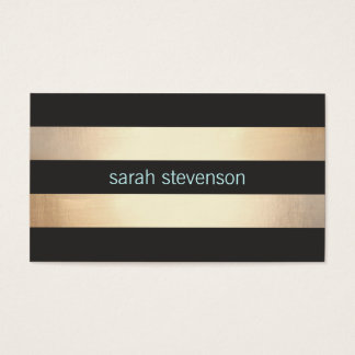 Cartes De Visite Moderne rayé de feuille d'or de noir chic de
