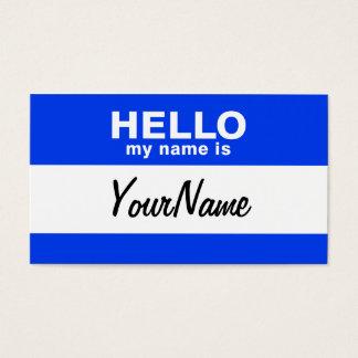 Cartes De Visite Mon nom est Nametag fait sur commande bleu