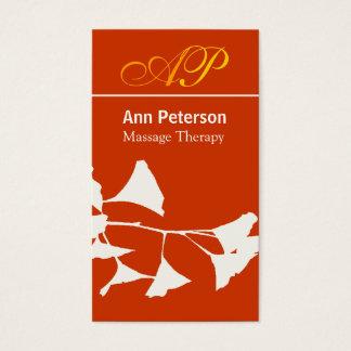 Cartes De Visite Monogramme audacieux de joli Ginkgo rouge vif