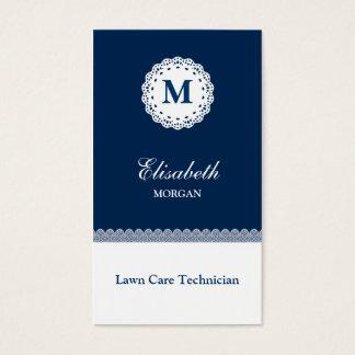 Cartes De Visite Monogramme blanc bleu de dentelle de technicien de