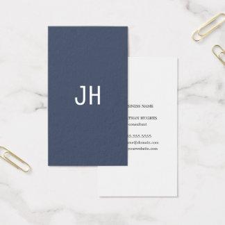Cartes De Visite Monogramme blanc bleu simple professionnel