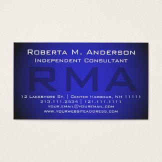 Cartes De Visite Monogramme bleu élégant de conseiller indépendant