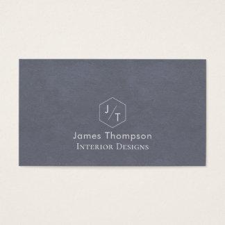 Cartes De Visite Monogramme bleu gris de Minimalistic