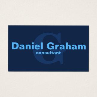 Cartes De Visite Monogramme bleu simple moderne simple