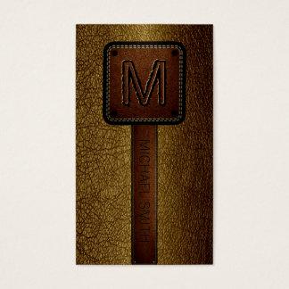Cartes De Visite Monogramme Brown simili cuir
