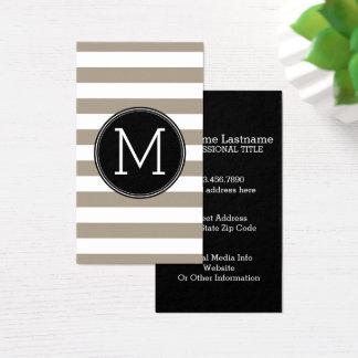 Cartes De Visite Monogramme de Taupe et blanc de motif rayé de noir