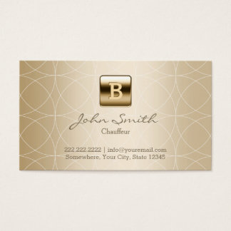 Cartes De Visite Monogramme d'or de chauffeur géométrique