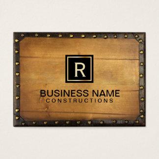 Cartes De Visite Monogramme en bois en cuir vintage de construction