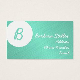 Cartes De Visite Monogramme en turquoise métallique