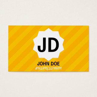 Cartes De Visite Monogramme fait sur commande rayé jaune
