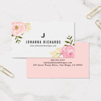 Cartes De Visite Monogramme floral de pivoines roses douces