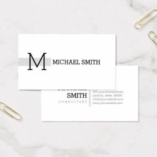 Cartes De Visite Monogramme Gainsboro moderne élégant blanc simple