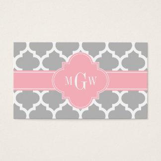 Cartes De Visite Monogramme initial du rose #5 3 de blanc gris