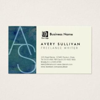 Cartes De Visite Monogramme mince de lettres d'écrivain indépendant