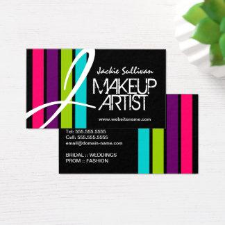 Cartes De Visite Monogramme moderne de maquilleur de couleur