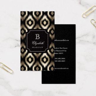 Cartes De Visite Monogramme noir chic élégant d'Ikat de diamant de