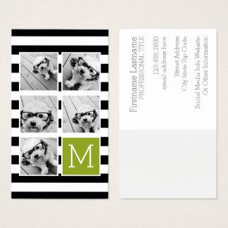 Cartes De Visite Monogramme rayé de coutume de collage de photo de