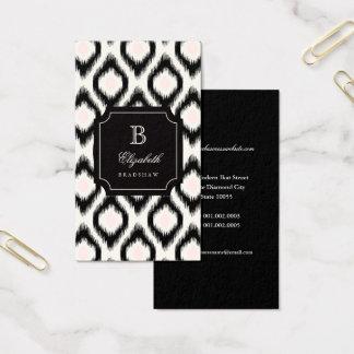 Cartes De Visite Monogramme rose noir chic élégant d'Ikat de