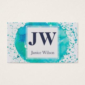 Cartes De Visite Monogramme turquoise bleu d'éclaboussure de