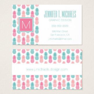 Cartes De Visite Monogramme vintage du motif | d'ananas