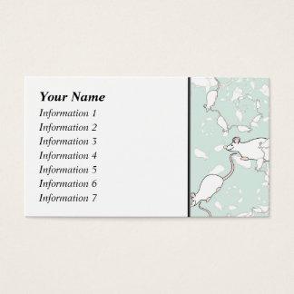 Cartes De Visite Motif blanc mignon de souris. Souris, sur le vert