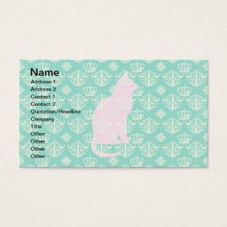 Cartes De Visite Motif blanc turquoise royal vintage de conception