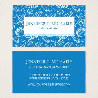 Cartes De Visite Motif bleu de plage de monogramme