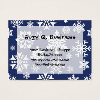 Cartes De Visite Motif bleu de vacances de Noël d'hiver de flocons