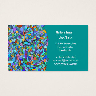 Cartes De Visite Motif de mosaïque bleu coloré abstrait