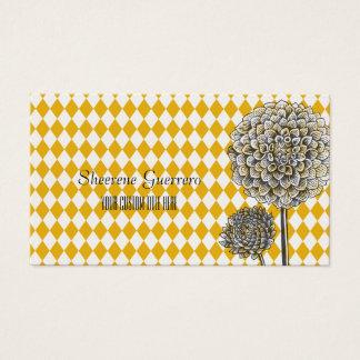 Cartes De Visite Motif de moutarde de harlequin de fleur de dahlia
