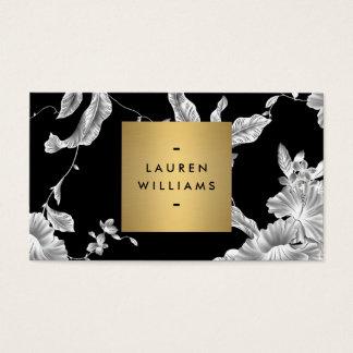 Cartes De Visite Motif floral noir élégant 3 avec le logo de nom