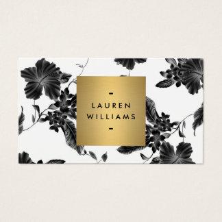 Cartes De Visite Motif floral noir élégant 4 avec le logo de nom