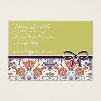 Cartes De Visite Motif floral tourbillonnant orange et pourpre