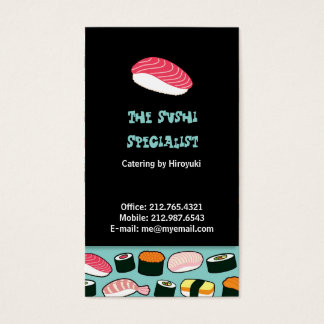 Cartes De Visite Motif illustré par amusement délicieux de sushi