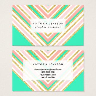 Cartes De Visite Motif moderne de chevron de turquoise d'or de rose