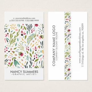 Cartes De Visite Motif moderne de fleurs et de feuilles de réplique