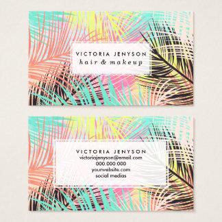 Cartes De Visite Motif tropical lumineux de feuille de palmier