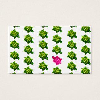Cartes De Visite Motif vert et rose de tortues