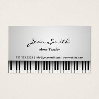 Cartes De Visite Musical blanc chic de piano de professeur de