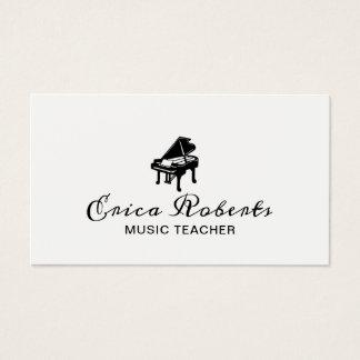 Cartes De Visite Musical élégant d'icône de piano de professeur de
