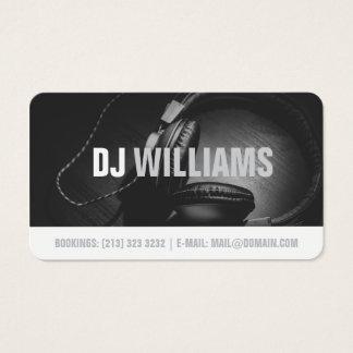 Cartes De Visite Musicien noir et blanc moderne de disc-jockey du