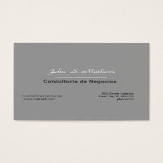 Cartes De Visite Neutral Plain Grey Mod Minimalist Professional