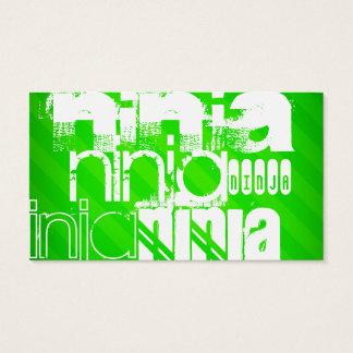 Cartes De Visite Ninja ; Rayures vertes au néon
