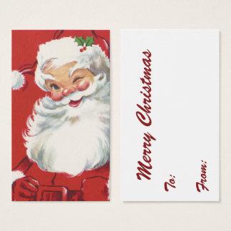 Cartes De Visite Noël vintage, le père noël clignotant gai