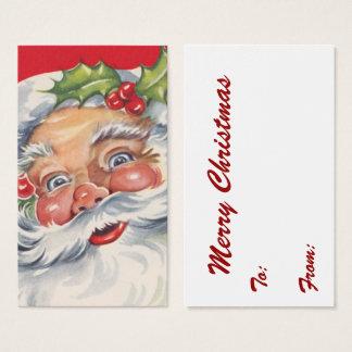 Cartes De Visite Noël vintage, le père noël gai avec son casquette