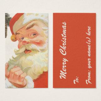 Cartes De Visite Noël vintage, le père noël gai avec un secret
