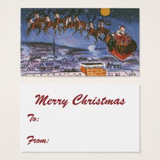 Cartes De Visite Noël vintage le père noël pilotant son Sleigh