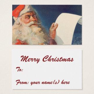 Cartes De Visite Noël vintage, liste vilaine du père noël Nice