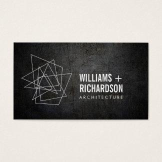 Cartes De Visite Noir architectural géométrique abstrait de logo