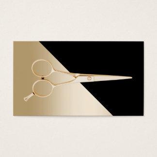 Cartes De Visite Noir de coiffeur et ciseaux modernes d'or